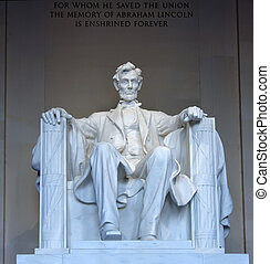 Statue of Abraham Lincoln in the Lincoln Memorial, ...