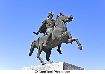 Statue of Alexander the Great at Thessaloniki city in Greece...