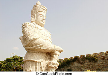 Statue of an ancient armed soldier