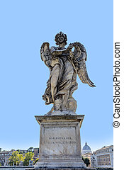 Statue of an Angel with the Cross by Ercole Ferrata on Sant'Angelo Bridge in Rome