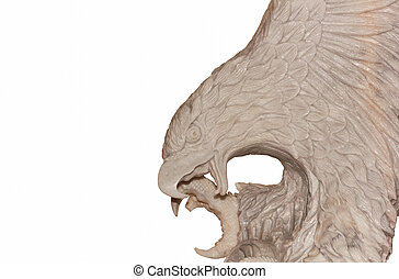 Statue of an eagle on a white background.