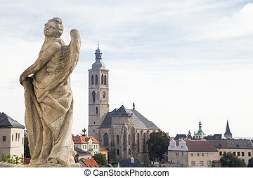 Statue of Angel and church
