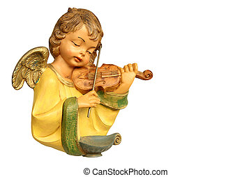Statue of angel playing violin