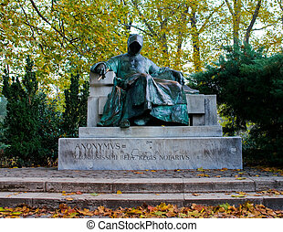 Statue of Anonymus in Budapest - Statue of Anonymous in...