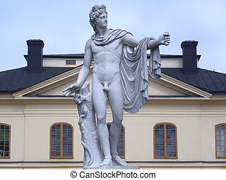 Statue of Apollo in Drottningholm palace, Stockholm (Sweden)