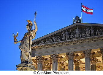 statue of athena in front of the austrian parliament, vienna