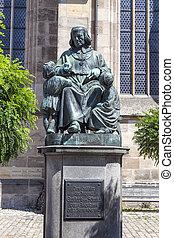 statue of author Christoph vom Schmid in Dinkelsbuehl