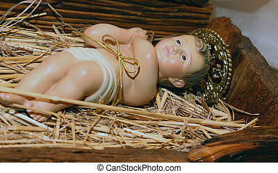 baby Jesus in the Manger of the crib at Christmas