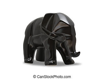 Statue of black elephant in geometry style on white isolated background