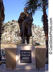 Statue of bronze president Ataturk in Dalyan, Turkey
