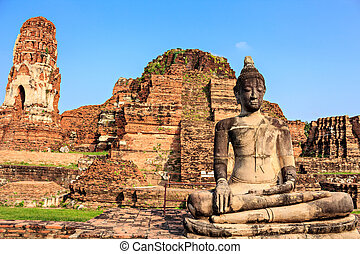 Statue of Buddha at Wat Mahathat in Ayutthaya Thailand.