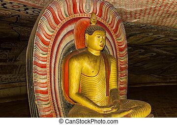 Statue of Buddha, Dambulla Cave Temple, Sri Lanka.