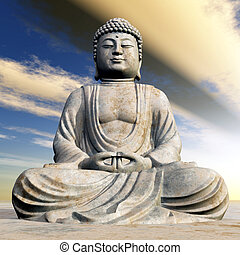 Statue of Buddha - Computer generated 3D illustration with a...