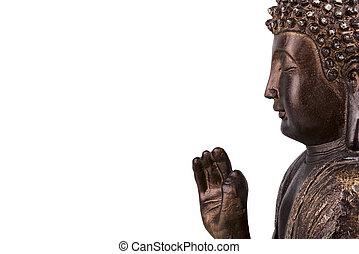 Statue of Buddha, isolated on white background.