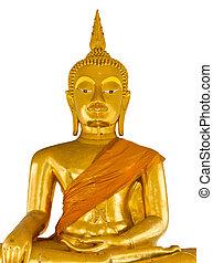 Statue of Buddha on white background
