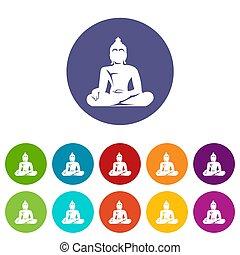 Statue of Buddha sitting in lotus pose set icons