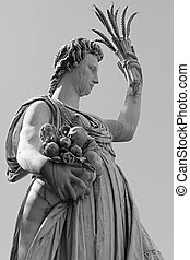Statue of Ceres ( greek Demeter ) - ancient roman goddess of the harvest, who presided over grains and the fertility of the earth - in historic Gardens of Boboli in Florence, Tuscany , Italy, Europe