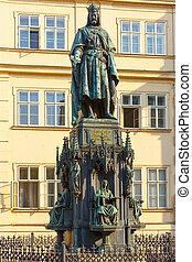 Statue of Charles IV in Prague, Czech Republic. - Statue of...