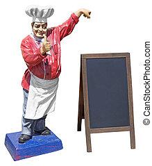Statue of chef with menu board