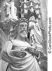 Statue of Christ outside St James Church in Rothenburg