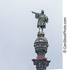 Statue of Christopher Columbus in Barcelona, Spain - Tower...