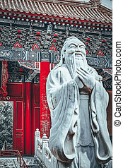 Statue of Confucius, the great Chinese philosopher in Temple...