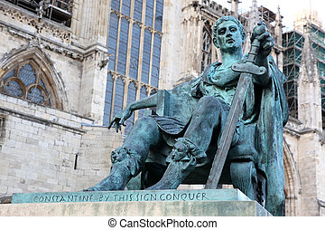 statue of Constantine I outside York Minster in England , GB