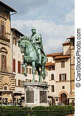 Statue of Cosimo I de Medici on Piazza della Signoria in...