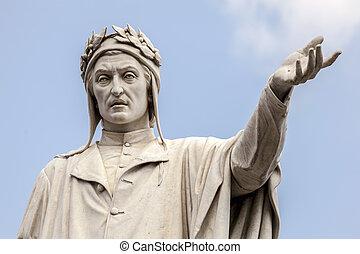 Statue of Dante Alighieri in Naples, Italy - Statue of the...
