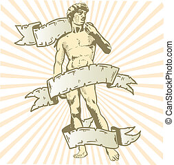 Statue of David vector illustration with banner. Fully...