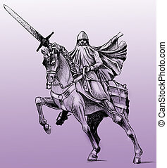 Statue of El Cid - Hand drawn drawing of the statue of El ...