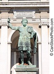 Statue of emperor Constantine in front St. Lawrence...