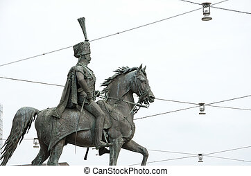Statue of Ernest Augustus I in front of the Hannover central...
