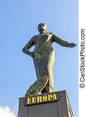 statue of Europa at the Brooks Bridge of Hamburg - statue of...