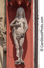 Statue of Eve on the portal of the Marienkapelle in Wurzburg, Bavaria, Germany
