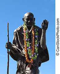 Statue of Ghandi wearing real leis - Statue of Mahatma...