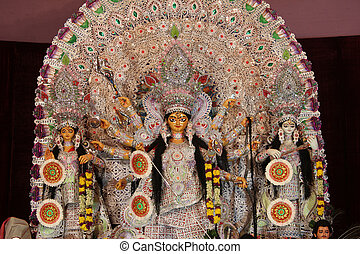statue of goddess durga, decorated during navratri pooja -...