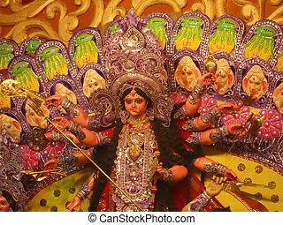 Statue of Goddess Durga - A statue of Goddess Durga during a...