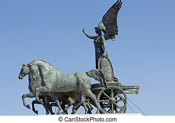 Statue of goddess Victoria on cart