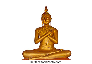 Statue of Golden Buddha on a white background