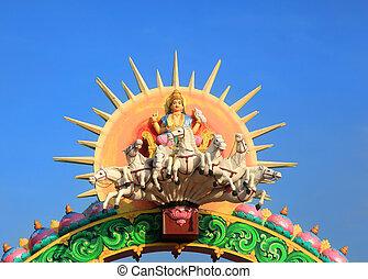 Statue of Hindu sun god Surya