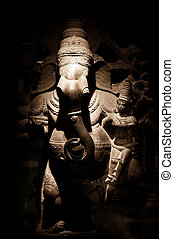 Statue of Indian god Ganesha at Hindu Temple. South India, Tamil Nadu, Madurai