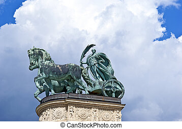Statue of iron at Heroes' Square in Budapest, Hungary