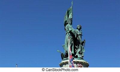 Monument to Jan Breydel and Pieter de Coninck at the Market Square in Bruges, Belgium.