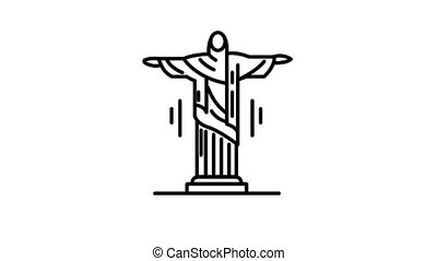 Statue of Jesus Christ line icon is one of the Travel and Landmarks icon set. File contains alpha channel. From 2 to 6 seconds - loop.