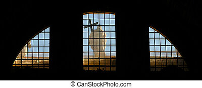 Statue of Jesus Christ viewed from a basilica