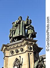 statue of Johannes Gutenberg, inventor of book printing,...