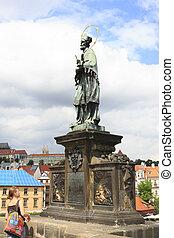 Statue of John of Nepomuk. Charles Bridge in Prague.