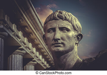 Statue of Julius Caesar Augustus in Rome. Roman sculpture