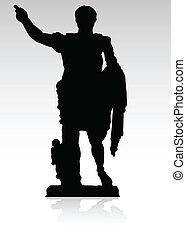statue of Julius Caesar black illustration